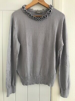 a41ca0ac1ef9 Ladies OASIS Grey Long Sleeved Light Weight Jumper with Frill in UK Medium ( 12)