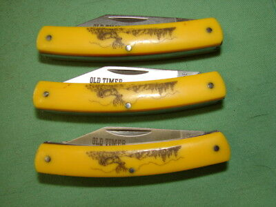 Lor Of 3 Schrade Old Timer   3 Blade Stockman Yellow Birdseye Scrimshaw W5