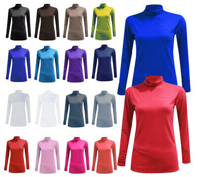 Womens Ladies Polo Roll Turtle Neck Long Sleeve Plain Stretch Jumper Top 8-26