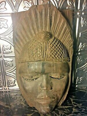 Vintage Carved Wood Face Mask - Southeast Asian Buddha Hindu Wall Art Sculpture!
