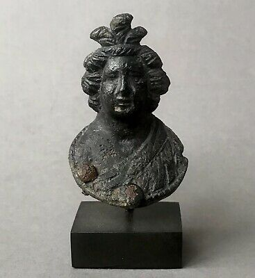 Beautiful Ancient Roman Bronze Female Bust Applique In Fine Details With Stand
