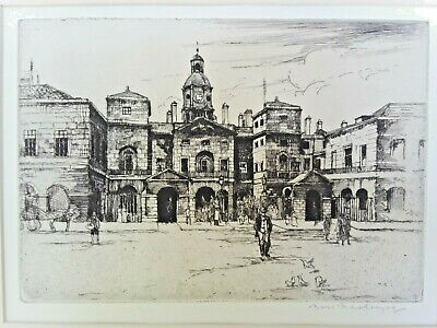 Antique Signed Marie Mackenzie Dutch English Etching - The Horse Guards, London