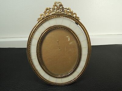 Antique French Gilt Bronze Bow Top Picture Frame-rare