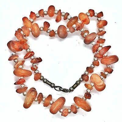 Ancient Aged Agate Bead Necklace Silver Tone Jewelry Authentic Carnelian Old