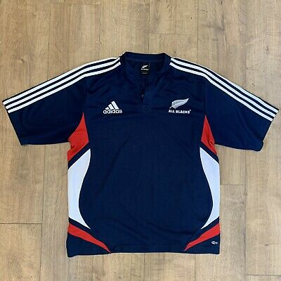 6f3250d2fe6 Rare New Zealand All Blacks SS 2008/2009 Blue Red Training Rugby Shirt  Jersey XL
