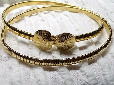 1976 MIMI Di N Vintage Gold Tone Stretchable Snake Belt With Clam Shell BUCKLE