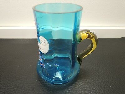 Antique Bohemian Aqua Blue Glass with amber color handle mug/cup Hand Enameled