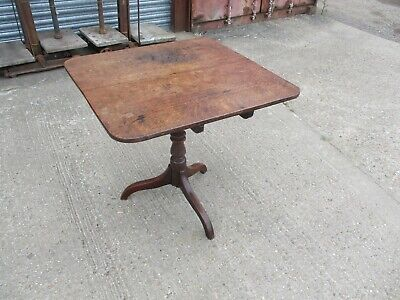 A 19th Century Victorian Oak Flip Top Occasional Side End Table Pedestal Tripod