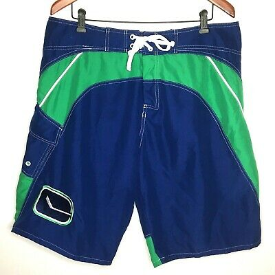 ec67596fcb Calhoun NHL Mens Board Shorts XL Vancouver Canucks Blue Green Cargo Swim  Trunks