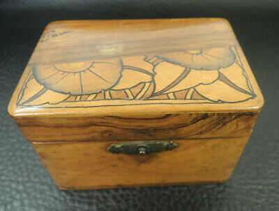 Antique French Mahogany wooden box Hand-made Trinket Jewelry box-signed
