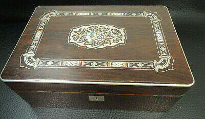 Antique Austria Germany Finely inlaid Rosewood Trinket Jewelry Box c.1840s