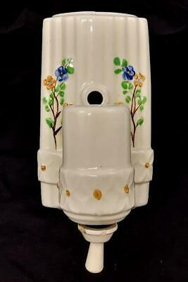 Antique Ceramic Wall Mount Light Sconce Fixture Hand Painted Flowers Pull Cord