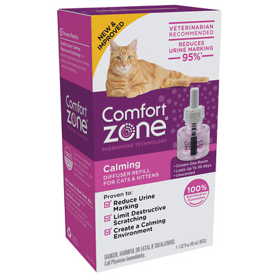 Comfort Zone Calming Diffuser Refill for Cats Kittens 1.62 fl oz New & Improved