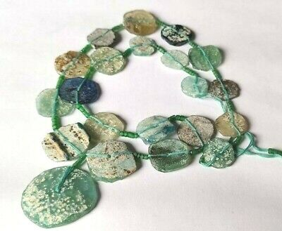 Ancient Roman Glass Old Round Beads Patina Strand Necklace Color Random