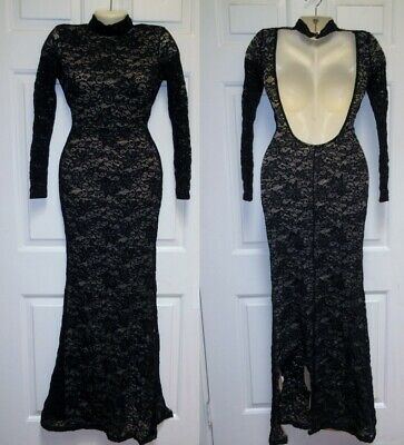 2fd4289771c0 NWT Windsor Long Lace Dress S Backless Sexy Bodycon Black READ ~ flaw ~  project