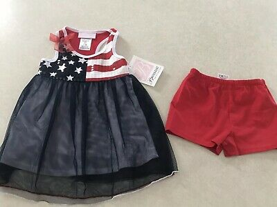 bee002635 NWT Bonnie Baby Girl's 2 Piece Set Shorts Shirt Flag Red White Blue 18  Months