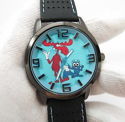 ROCKY & BULLWINKLE,3D Dial,Neoprene Band BIG MANS CHARACTER WATCH,M-3,L@@K!