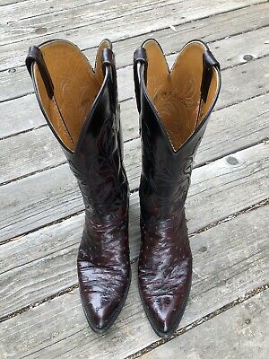 c1b2cff044a LUCCHESE COWBOY BLACK Cherry Full Quill Ostrich Boots CY7636 ...