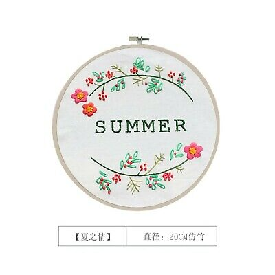 Four seasons summer flowers finished embroidery piece with loop home/wall decor