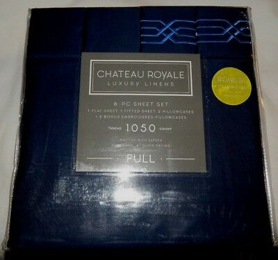 chateau royale luxury linens 6 piece full sheet set 1050 thread count nwt gray