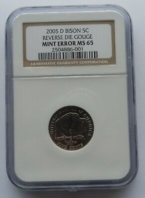 2005-D SPEARED BISON Buffalo Nickel Mint Error Ngc Ms65