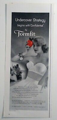 Vintage 1958 Formfit Woman's Strapless Bra Brassier 1950's Bedroom Decor AD
