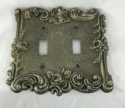 Vintage American Tack & Hardware Decorative Brass  2 Gang Switch Plate 1967 60TT
