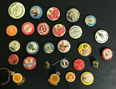 COLLECTABLE ,GRANDPAS TIN Of 40-Vintage Enamel Pins/ Badges And