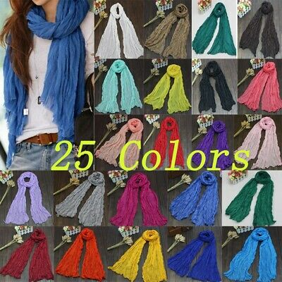 25Colors Fashion Long Voile Scarf Winter Warm Women Scarf Shawl Retro Solid