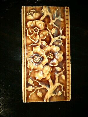 "Beaver Falls Art Tile vintage antique!  APPLE TREE? FLORAL browns 6"" x 3"" x 1/2"""