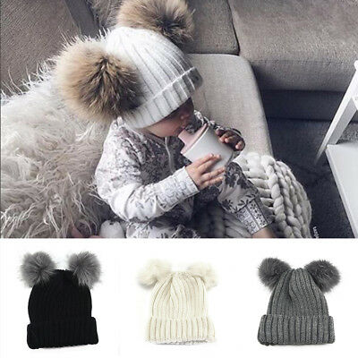 Baby Girl Boy Knitted Bobble Hat Double Pom Pom Winter Warm Crochet Stretchy Hat