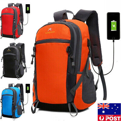 Anti-theft Mens USB with Charger Port Backpack Laptop Notebook Travel Hiking Bag