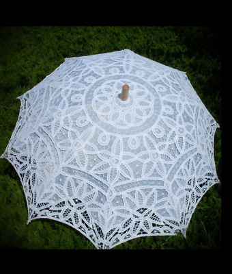 Handmade Cotton Lace Embroidery Parasol Umbrella Party Wedding Bridal Accessory