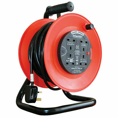 25M - 4 Way Heavy Duty Cable 25 Meter Extension Reel Lead Mains Socket 13 Amp