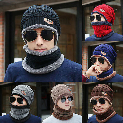 Mens Womens Winter Warm Knitted Baggy Beanie Hat Ski Cap Neck Warmer Scarf Sets