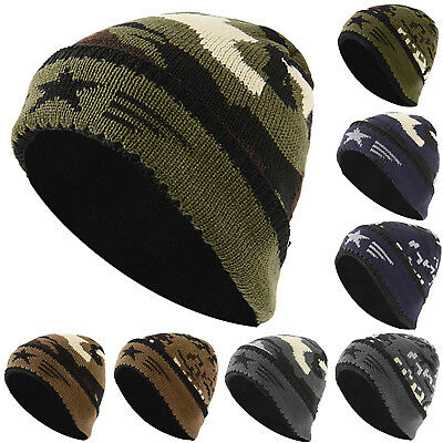 Mens Womens Camouflage Knitted Hat Beanie Fleece Caps Winter Warm Camo Ski Cap