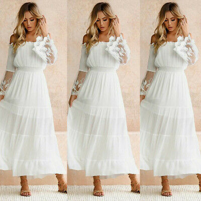 Women Lace Strapless Off Shoulder Bohemian Holiday Beach Party Long Maxi Dress A