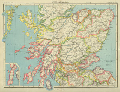 CENTRAL SCOTLAND. Showing counties. BARTHOLOMEW 1947 old vintage map chart