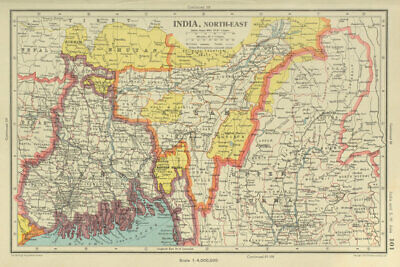 1901 VICTORIAN MAP ~ India North East ~ Bengal Nepal Assam
