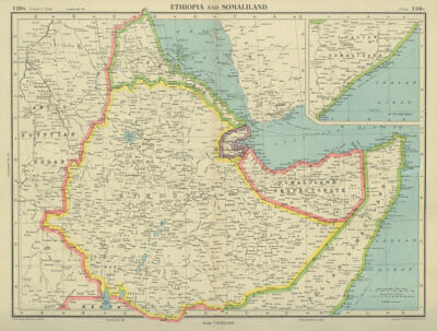 HORN OF AFRICA. Ethiopia French Somaliland Protectorate Somalia 1947 old map