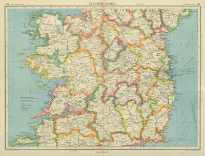 IRELAND CENTRAL. Connaught & Leinster. Eire. BARTHOLOMEW 1947 old vintage map