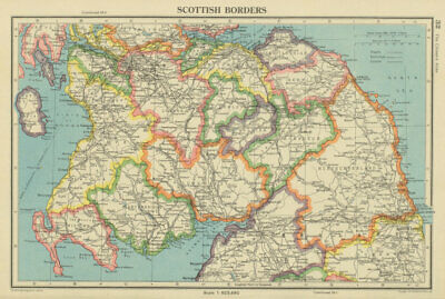 SCOTTISH BORDERS. Scotland south. BARTHOLOMEW 1947 old vintage map plan chart