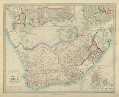 SOUTH AFRICA. Cape Town plan. Grahamstown. District of George. SDUK 1874 map