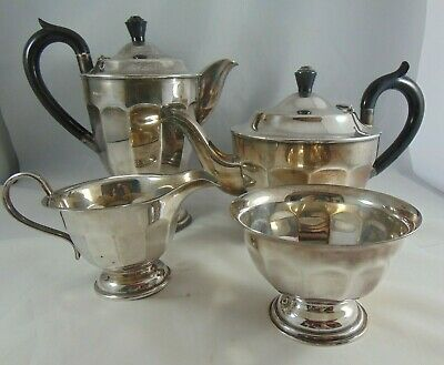 Vintage Art Deco 4 Piece Silver Plated Tea Service Sheffield England