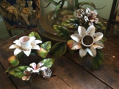Vintage Italian tole pr candle holders w Apples & Blossoms shabby chippy garden