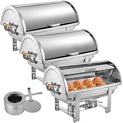 3 Pack Chafing Dish Roll Top Chafer 8 Qt Buffet Server Catering Wedding BBQ