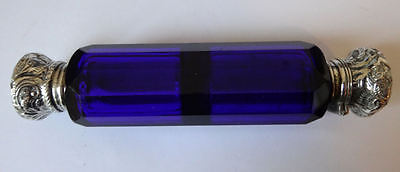 Antique Cobalt Blue SCENT / PERFUME BOTTLE double ended with Silver Tops c 1860