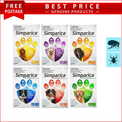 SIMPARICA Flea and Tick Prevention for Dogs 3 Doses All Sizes by Zoetis