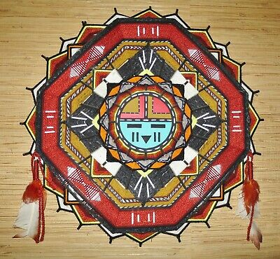 Large Artist Signed Native American Indian Hopi Dawa Dream Catcher with Feathers