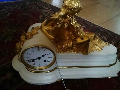 Antique French White Marble Bronze Ormolu Figural Mantel Clock 8 Day Bell Strike